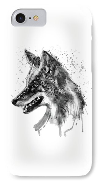 IPhone Case featuring the mixed media Coyote Head Black And White by Marian Voicu