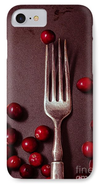 Cranberries And Fork IPhone Case by Ana V Ramirez
