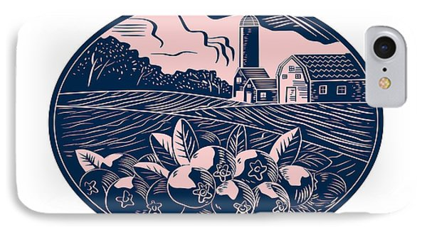Cranberry Fruit Farm Oval Woodcut IPhone Case by Aloysius Patrimonio