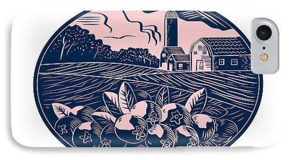 Cranberry Fruit Farm Oval Woodcut IPhone Case