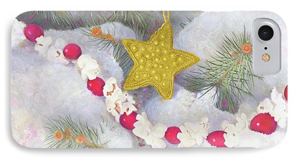 IPhone Case featuring the painting Cranberry Garland With Gold Christmas Star by Nancy Lee Moran
