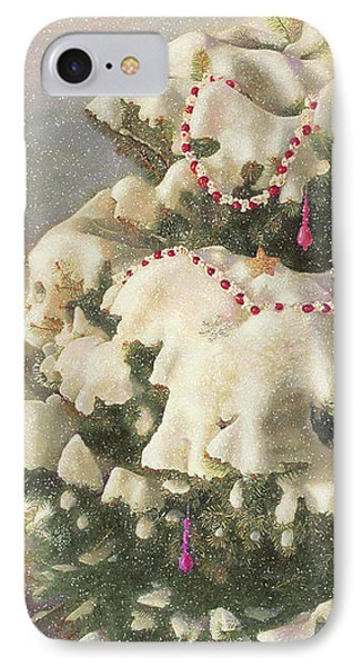 IPhone Case featuring the painting Cranberry Garlands Christmas Blue Spruce by Nancy Lee Moran