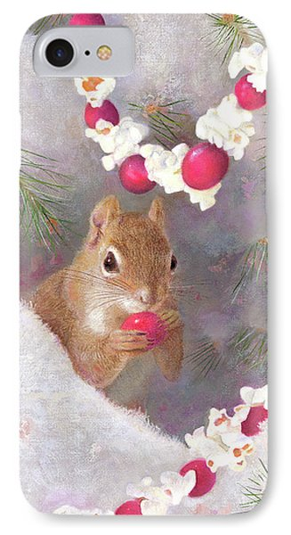 IPhone Case featuring the painting Cranberry Garlands Christmas Squirrel by Nancy Lee Moran