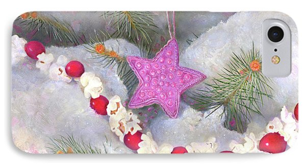 IPhone Case featuring the painting Cranberry Garlands Christmas Star In Orchid by Nancy Lee Moran