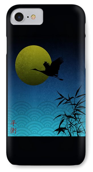 IPhone Case featuring the digital art Crane And Yellow Moon by Christina Lihani