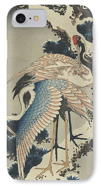 Cranes On Pine IPhone Case by Hokusai