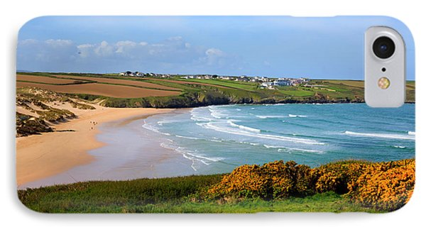 Crantock Bay And Beach North Cornwall England Uk Near Newquay With Waves In Spring IPhone Case by Michael Charles