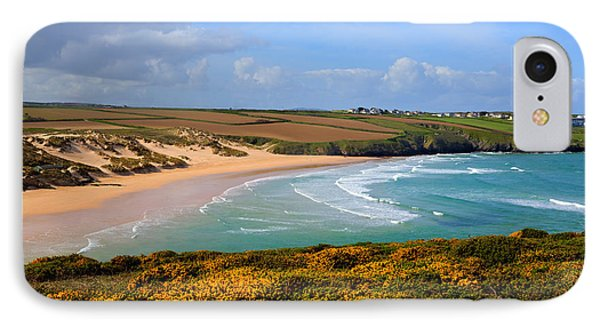 Crantock Beach And Yellow Gorse North Cornwall England Uk IPhone Case by Michael Charles
