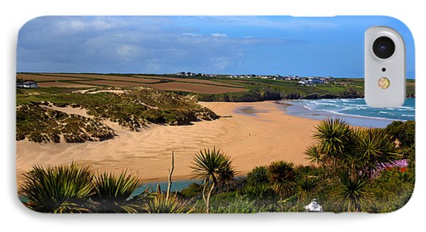 Crantock Beach North Cornwall England Uk Near Newquay With Palm Trees And Blue Sky IPhone Case by Michael Charles
