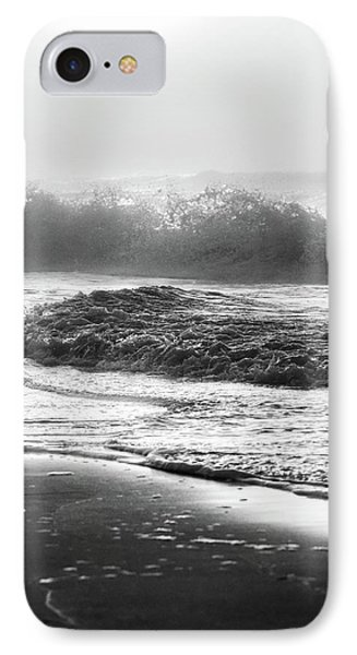 IPhone Case featuring the photograph Crashing Wave At Beach Black And White  by John McGraw