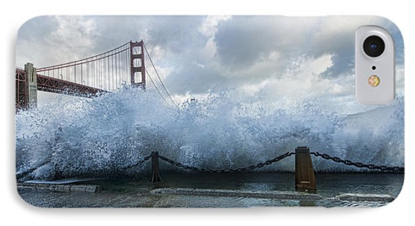 IPhone Case featuring the photograph Crashing Wave Golden Gate Bridge King Tide by Steve Siri