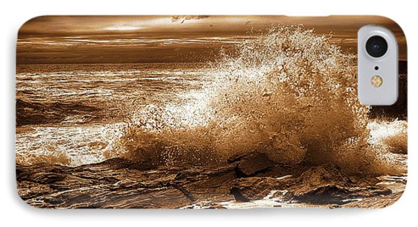 Crashing Wave Hdr Golden Glow IPhone Case by Sherman Perry