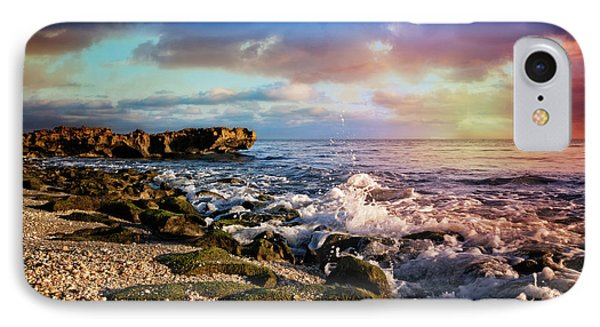 IPhone Case featuring the photograph Crashing Waves At Low Tide by Debra and Dave Vanderlaan