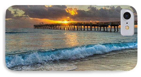 Crashing Waves At Sunrise Phone Case by Debra and Dave Vanderlaan
