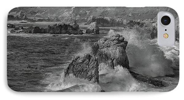 Crashing Waves Big Sur Ca Bw IPhone Case by Steve Gadomski