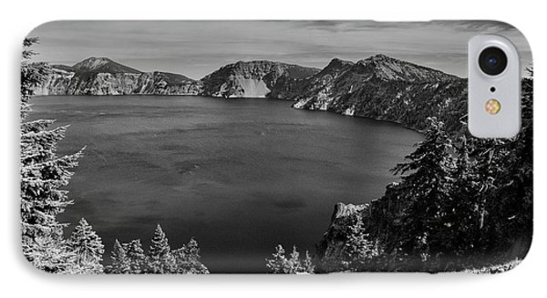 IPhone Case featuring the photograph Crater Lake View In Bw by Frank Wilson