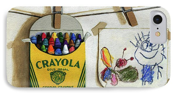 Crayola Crayons And Drawing Realistic Still Life Painting IPhone Case by Linda Apple
