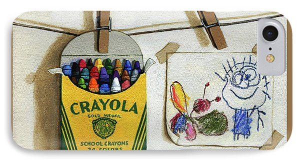 IPhone Case featuring the painting Crayola Crayons And Drawing Realistic Still Life Painting by Linda Apple