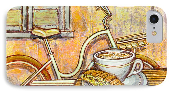 Cream Electra Town Bicycle With Cappuccino And Biscotti IPhone Case by Mark Jones