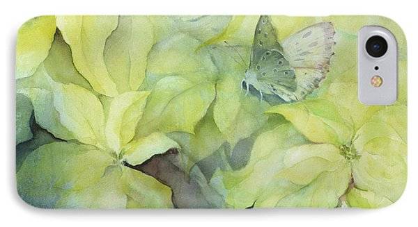 Cream Poinsettia With Butterfly IPhone Case