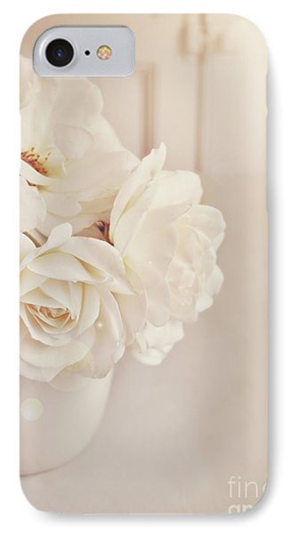 IPhone Case featuring the photograph Cream Roses In Vase by Lyn Randle