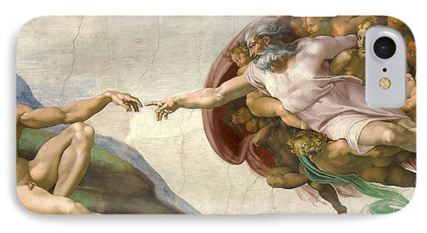 Creation Of Adam - Painted By Michelangelo IPhone Case by War Is Hell Store