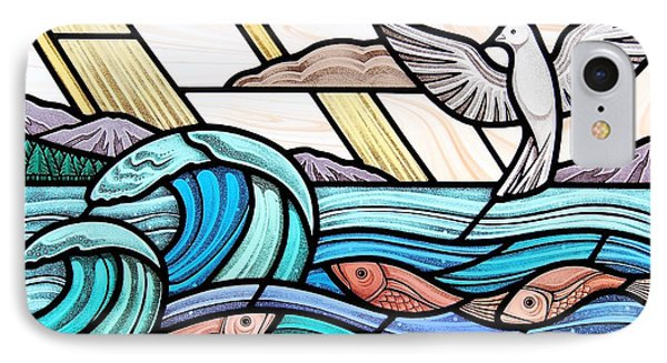 Creation Of The Sea And Sky IPhone Case by Gilroy Stained Glass