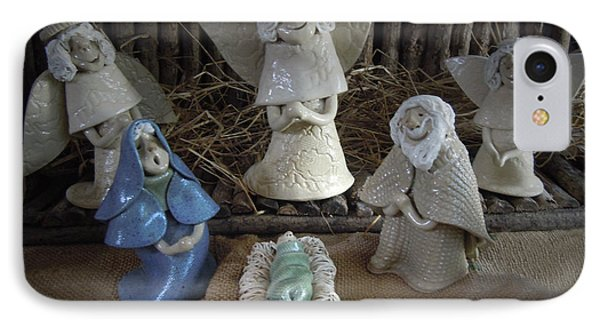 Creche Mary Joseph And Baby Jesus Phone Case by Nancy Griswold