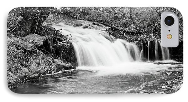 Creek Merge Waterfall In Black And White IPhone Case