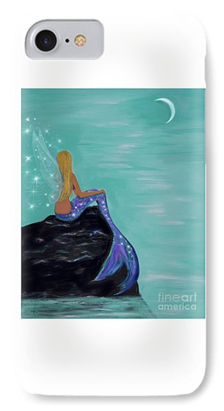 IPhone Case featuring the painting Crescent Mermaid Moon Fairy by Leslie Allen