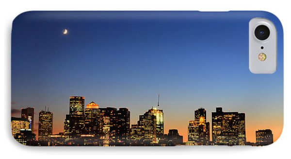 Crescent Moon Over Boston At Dusk From East Boston IPhone Case