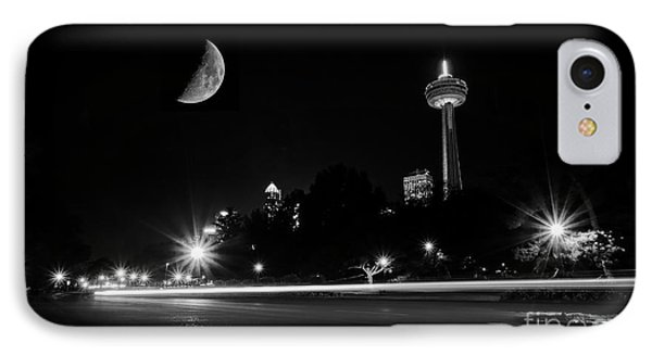 Crescent Moon Over Niagara Falls City Mono IPhone Case by Charline Xia