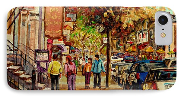 Crescent Street Montreal IPhone Case by Carole Spandau