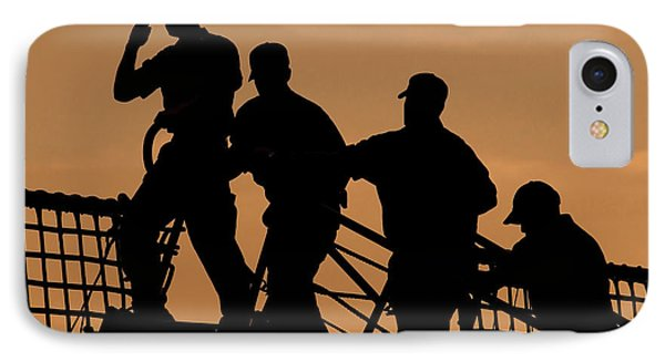 Crewmen Salute The American Flag IPhone Case by Stocktrek Images