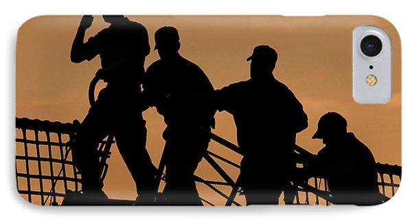 Crewmen Salute The American Flag Phone Case by Stocktrek Images