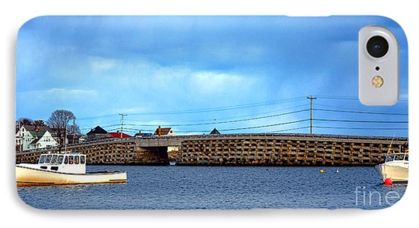 Cribstone Bridge And Boats On Bailey Island IPhone Case by Olivier Le Queinec