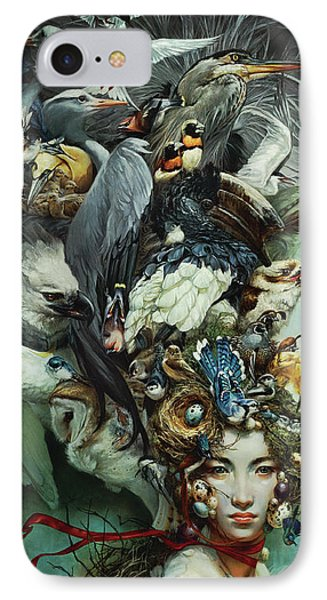 Hornbill iPhone 7 Case - Crimson Ribbon by Heather Theurer