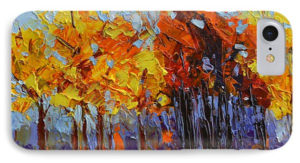 Crispy Autumn Day Landscape Forest Trees - Modern Impressionist Knife Palette Oil Painting IPhone Case by Patricia Awapara