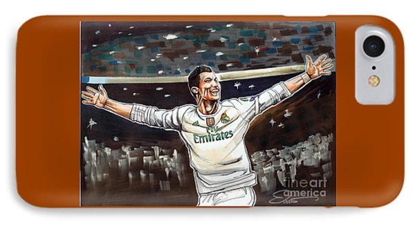 Cristiano Ronaldo Of Real Madrid IPhone Case by Dave Olsen