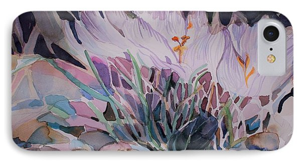 IPhone Case featuring the painting Crocuses by Mindy Newman