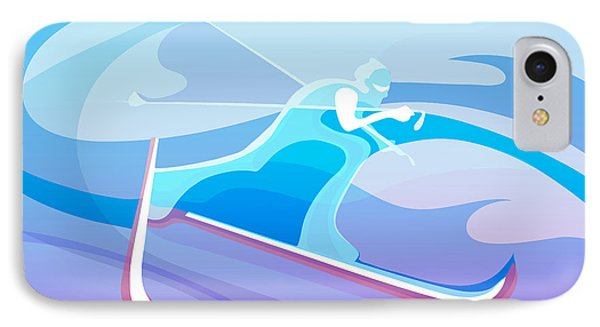 Cross iPhone 7 Case - Cross County Skier Abstract by Sassan Filsoof