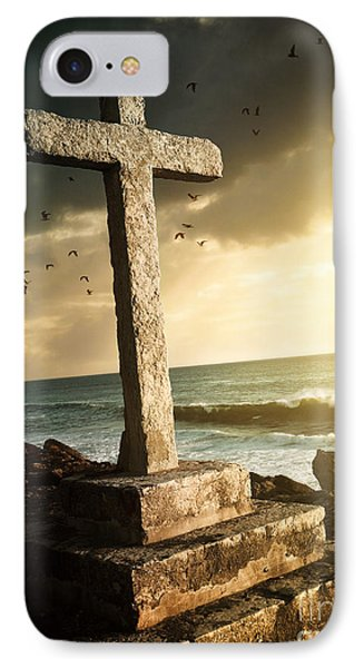 Cross In A Cliff IPhone Case by Carlos Caetano
