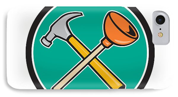 Crossed Hammer Plunger Circle Cartoon  IPhone Case by Aloysius Patrimonio