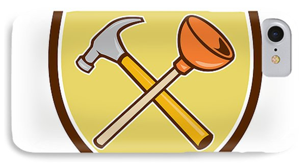 Crossed Hammer Plunger Crest Cartoon  IPhone Case by Aloysius Patrimonio
