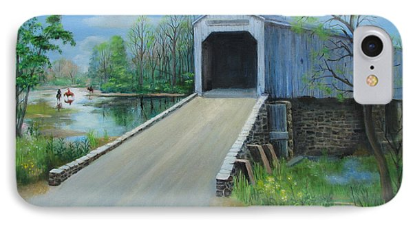 Crossing At The Covered Bridge IPhone Case by Oz Freedgood
