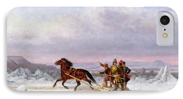 Crossing The Saint Lawrence From Levis To Quebec On A Sleigh IPhone Case by Cornelius Krieghoff
