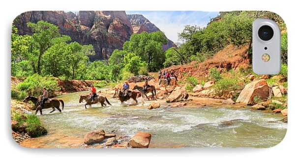 Crossing The Virgin River In Zion IPhone Case