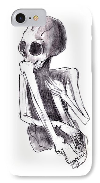 Crouched Skeleton Phone Case by Michal Boubin