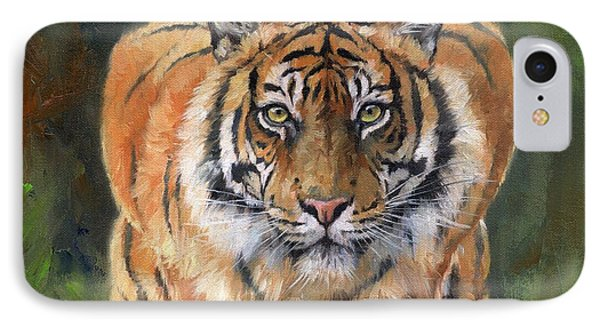 IPhone Case featuring the painting Crouching Tiger by David Stribbling