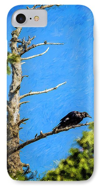 Crow In An Old Tree Phone Case by Ken Morris